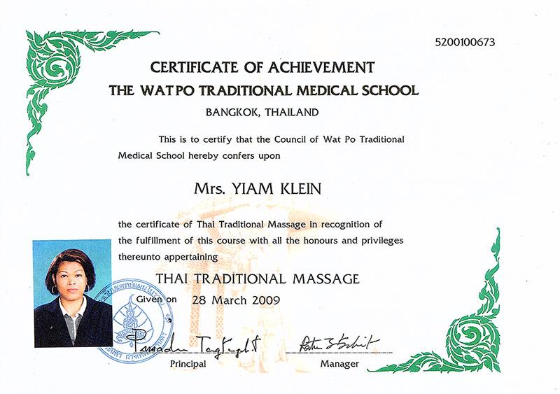 Traditionelle Thai-Massage Zertifikat
